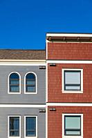 Abstract facade of a new building but designed in an older style in Steveston British Columbia Canada.