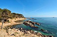 Cala Estreta beach and Formigues island, Palamos, Costa Brava, Girona province, Catalonia, Spain.