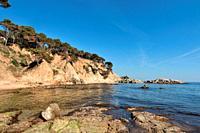 Cala Estreta beach, Palamos, Costa Brava, Girona province, Catalonia, Spa.