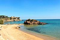 La Fosca beach in Palamos, Costa Brava, Girona province, Catalonia, Spain.
