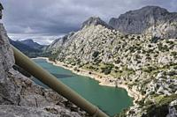 pipeline for pumping and transferring water to the Cuber reservoir, Gorg Blau, artificial reservoir of water, Escorca, Mallorca, Balearic Islands, Spa...
