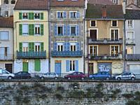 houses on Quai Champollion, Cahors, Lot Department, Occitanie, France.