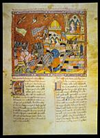 Trojan Chronicle. Scene of the destruction of Troy. El Escorial Library. 13th century minuature, H. I. 6, f. 160r.