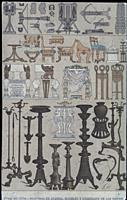 War machines, furniture and utensils of the Greek people in the Ancient Age, 1844. Published by Gustav Weis and Illustrated by Friedich Hottenroth.