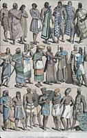 Characters and clothing of western asian people in the Ancient Age, 1844. Published by Gustav Weis and Illustrated by Friedich Hottenroth.