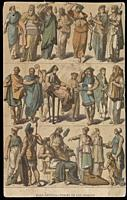 Greek people clothings in the Ancient Age, 1844. Published by Gustav Weis and Illustrated by Friedich Hottenroth.