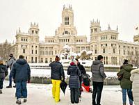 January 9, 2021, Cibeles statue after Storm Filomena brought intense snow, MADRID, SPAIN, EUROPE.