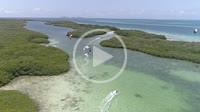 -Caribbean-sea-Fantastic-landscape Kitesuf in mangrove fores and clear crystal water, from drone in Los Roques venezuela