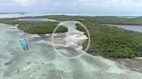 Caribbean-sea-Fantastic-landscape Kitesuf in mangrove fores and clear crystal water, from drone in Los Roques venezuela
