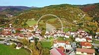 Aerial view of Ezcaroz village in autumn. Navarre, Spain, Europe. 4K.
