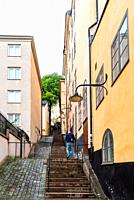 Picturesque steps with colorful houses in Ugglan quarter in Sodermalm, Stockholm, Sweden.