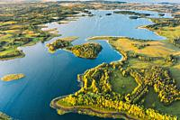 Braslaw Or Braslau, Vitebsk Voblast, Belarus. Aerial View Of Nedrava Lake And Green Forest Landscape In Sunny Autumn Morning. Top View Of Beautiful Eu...