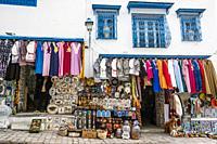 Hillside shops along the cobbled streets of Sidi Bou Said. Tunisia, Africa.