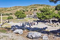 Asklepieion, also spelled Asclepieion,Asclepion, Asklepion, Asclepeion, near Bergama, Izmir Province, Turkey. A group of tourists visiting the ancient...