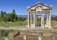 Ruins of Aphrodisias, Aydin Province, Turkey. 2nd century gateway known as the Tetrapylon. Aphrodisias, which is a UNESCO World Heritage Site, was ded...