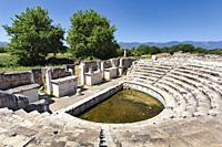Ruins of Aphrodisias, Aydin Province, Turkey. The intimate ten-tiered Odeon. Aphrodisias, which is a UNESCO World Heritage Site, was dedicated to Aphr...