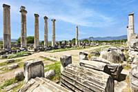 Ruins of Aphrodisias, Aydin Province, Turkey. Ruins of the Temple of Aphrodite. Aphrodisias, which is a UNESCO World Heritage Site, was dedicated to A...