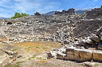 Ruins of the ancient Lycian city of Tlos, Antalya Province, Turkey. The theatre dating from the Roman era. This picture shows what an ancient ruin can...