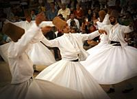 "Konya, Konya Province, Turkey. Whirling Dervishes. UNESCO proclaimed the """"The Mevlevi Sema Ceremony"""" of Turkey (seen here) amongst the Masterpieces ..."