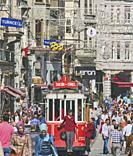 Istanbul, Turkey. The Tünel to Taksim Square Nostalgic Tram in Istiklal Caddesi, one of Istanbul's main shopping streets.