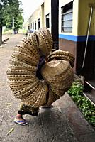 Myanmar, Yangon (Rangoon), Basket seller boarding the circular train.
