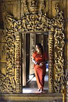 Myanmar, Mandalay, Inside Shwenandaw monastery (19th C).