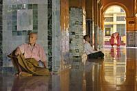 Myanmar, Mandalay, Quiet afternoon at Mahamuni pagoda.