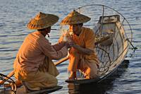 Myanmar, Shan State, Inle Lake, Intha fisherman.