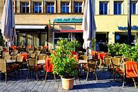 Street scene, Maximilianstrasse - main touristic promenade in old town, Bayreuth, capital of Upper Franconia, Bavaria, Bayern, Germany, Europe