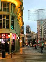 Gran Via street, night view. Madrid, Spain.