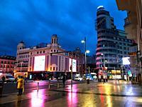 Plaza de Callao, night view. Madrid, Spain.