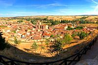 Panoramic view from the castle. Peñaranda de Duero, Burgos province, Castilla Leon, Spain.