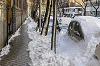 Madrid, Spain. 10 th January 2021. View of Rodríguez San Pedro street, Chamberi quarter, after Filomena snow storm.