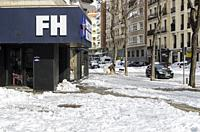 Madrid, Spain. 10 th January 2021. View of a man in Chamberi quarter after the Filomena snow storm.