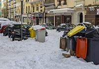 Madrid, Spain. 10 th January 2021. View of San Bernardo street, Chamberi quarter, after Filomena snow storm.