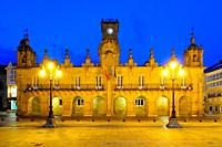 Town Hall at night. Lugo. Galicia. Spain