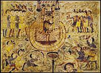 Jerusalem besieged by Nebuchadnezzar troops. Early 9th century miniature, Bishop Haimon Commentaries on Ezekiel.