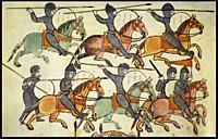 Medieval cavalry charging, 10th century manuscript. Illuminator Magius.