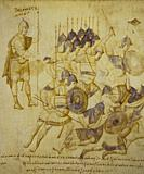 Conquest of Canaan at Joshua Roll. Byzantine illuminated manuscript of the 10th century. Vatican Library.