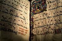 Dublin, Ireland - Feb 20th, 2020: Illuminated liturgical choir book, 13th century. Northern Italy. Chester Beatty Library.