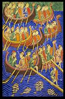 Large Danish army arriving East Anglia in 866. 9th Century Anglo-Saxon Chronicle.