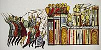 The seizure of Edessa in Syria by the Byzantine army, 1031. 12th Century Chronicle of John Skylitzes.