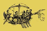Ship using Greek fire against a Byzantine ship. 12th Century Madrid manuscript Chronicle of John Skylitzes.