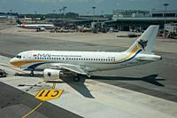 Singapore, Republic of Singapore, Asia - A Myanmar Airways International Airbus A319 passenger plane with the registration XY-AGR during pushback at C...