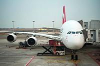 Singapore, Republic of Singapore, Asia - A Qantas Airways Airbus A380-842 passenger plane with the registration VH-OQB and named after Hudson Fysh is ...
