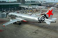 Singapore, Republic of Singapore, Asia - A Jetstar Asia Airways Airbus A320-232 passenger plane with the registration 9V-JSK at Changi International A...