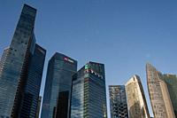 Singapore, Republic of Singapore, Asia - City skyline with modern skyscrapers at the Marina Bay Financial Centre. The economy of the financial metropo...