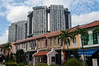 Singapore, Republic of Singapore, Asia - Traditional shophouses along Tanjong Pagar Road connecting the two historic districts of Chinatown and Tanjon...
