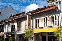 Singapore, Republic of Singapore, Asia - Traditional shophouses along Amoy Street in the historic city district of Chinatown. Shophouses are narrow te...