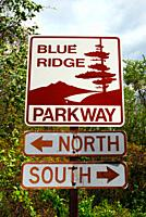 A sign greets visitors at the entrance to the Blue Ridge Parkway in North Carolina.